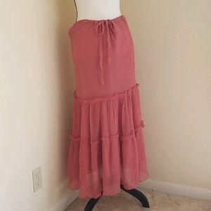 Diane Von Furstenburg 100% silk tiered skirt